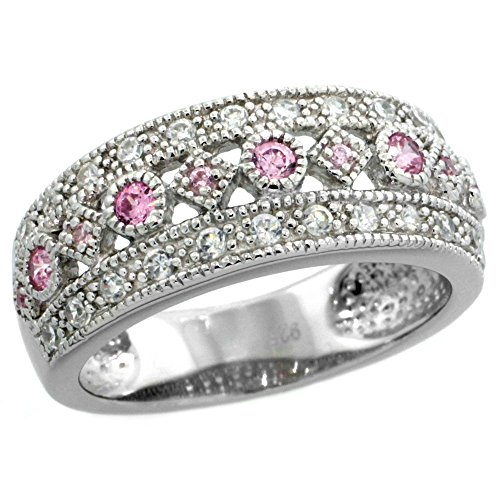 Sterling Silver Vintage Style Cubic Zirconia Ring Pink Center Row 5 16 inch wide, sizes 6-9