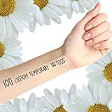 Tattify Custom Temporary Tattoos - Print Your Design Here - 100 Custom Tattoos - Temporary Fake Removable Black or Color Tattoos - Long Lasting and Waterproof