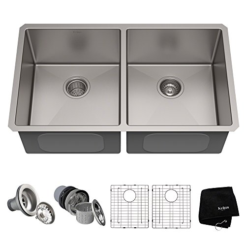 Kraus Standart PRO 33-inch 16 Gauge Undermount 50/50 Double Bowl Stainless Steel...