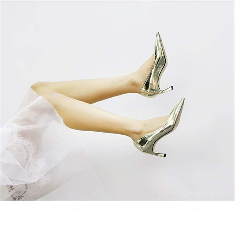 Weddings Womens Pointed Toe Stiletto Patent Leather Dress Pumps Slip On High Heels Evening Shoes for banquets Work Clubs