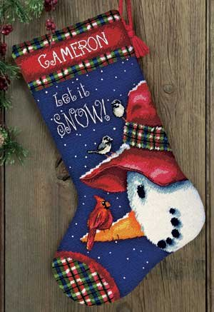 Snowman Perch Stocking Needlepoint Kit-16
