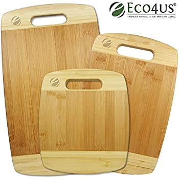 Eco4us - 3 Piece Bamboo Cutting Board Set