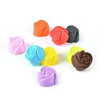 10 moldes de silicona para magdalenas y galletas, molde para hornear tartas y chocolate, molde para hacer gelatinas, diseño de rosas: Amazon.es: Hogar