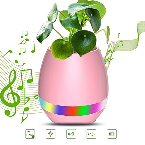 FENGRUI Smart Music Flowerpot Bluetooth Wireless Speakers Touch Plant Pot Piano-Playing Multi-Color LED Night Light Great for Office Home Decor(Pink) ()