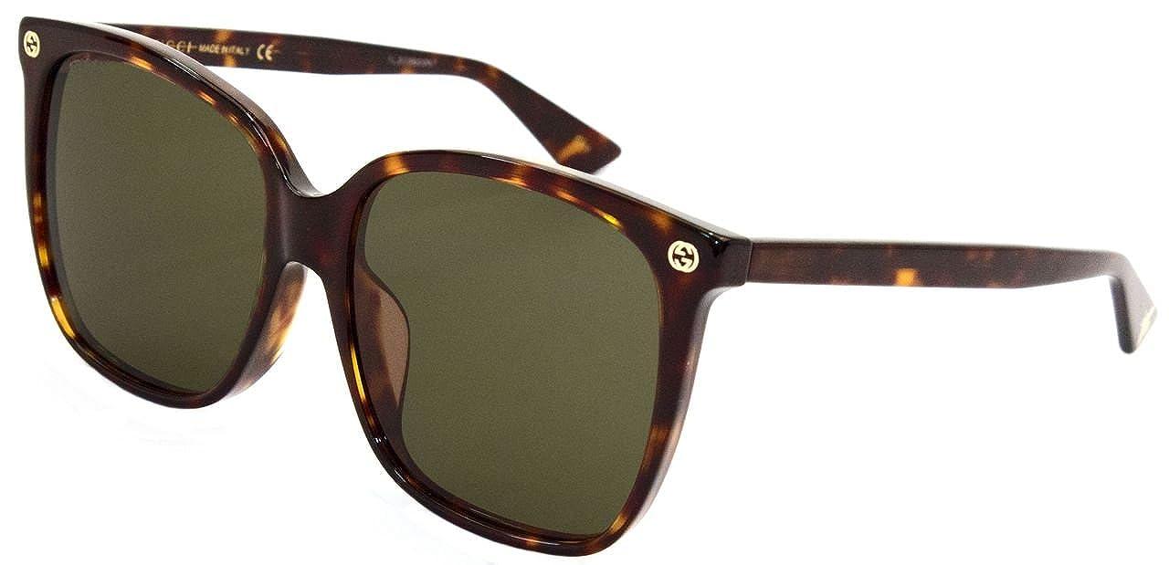 3ed3f417e5151 Amazon.com  GUCCI 0022 Oversized Square Brown Havana Sunglasses Women   Clothing