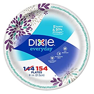 "Dixie Everyday Paper Plates, 8-1/2"", 154 Count, Lunch or Light Dinner Size Printed Disposable Plates"