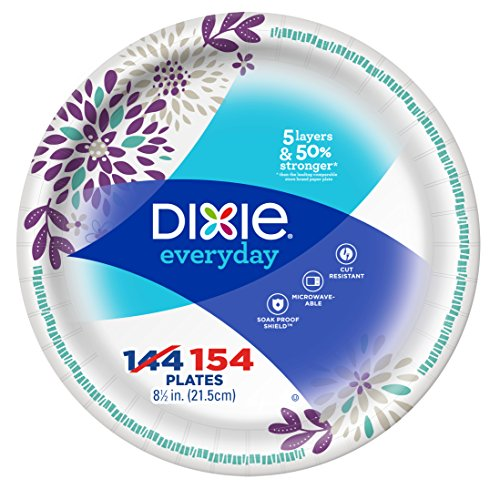 "Dixie Everyday Paper Plates, 8 12"", 154 Count, Lunch or Light Dinner Size Printed Disposable Plates"