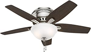 "Hunter Fan Company 51082 Newsome Ceiling Fan with Light, 42""/Small, Brushed Nickel"
