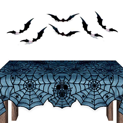 THE TWIDDLERS Lacy Cobweb and Spider Tablecloth - Premium Fabric, Includes 5 Hanging Bats - Perfect for Halloween Events, Parties & -