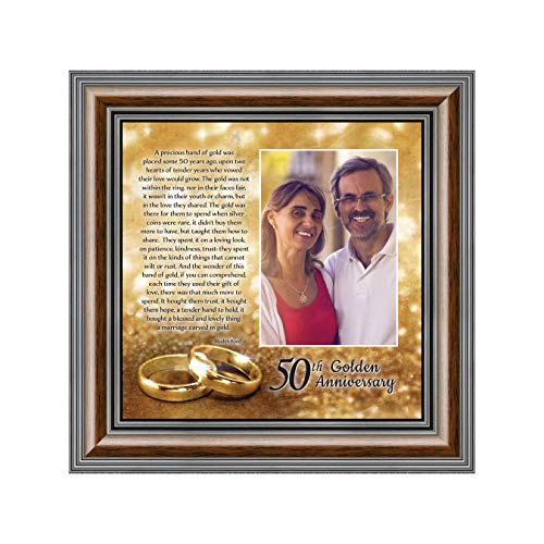 Bands of Gold, Personalized 50th Wedding Picture Frame, 10x10 6314W (Gold Porcelain Band)