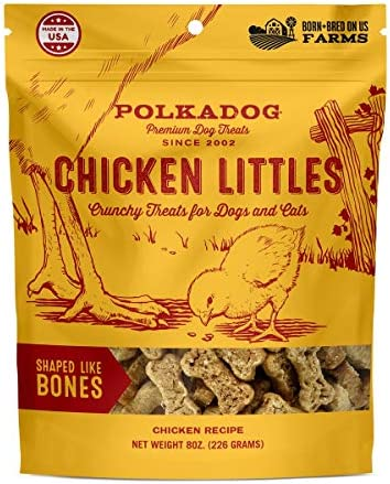 Polkadog Chicken Littles Bone Shaped Dog Treats, Cat Snacks All-Natural Pet Treats for Kittens, Puppies Bite-Sized, Crunchy Snack for Dogs, Cats 3 Ingredients 8 oz.