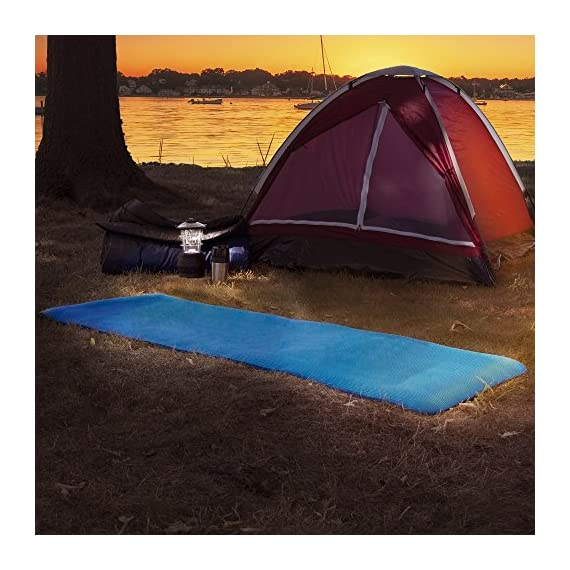 Wakeman Non-Slip Luxury Foam Camping Sleep Mat 2 SLEEP COMFORTABLY-With ½ inch thick premium foam material, this sleeping mat offers superior comfort to ensure a restful night's sleep. LIGHTWEIGHT AND PORTABLE-Weighing only one pound and only 24 inch (W) x 7 inch (H) when rolled, this lightweight mattress is convenient to pack and transport to your next adventure. MULTIPURPOSE FOAM MAT-The non-slip comfortable textured surface of this sleeping pad helps to keep you warm and provide protection from the cold, wet ground while you sleep.