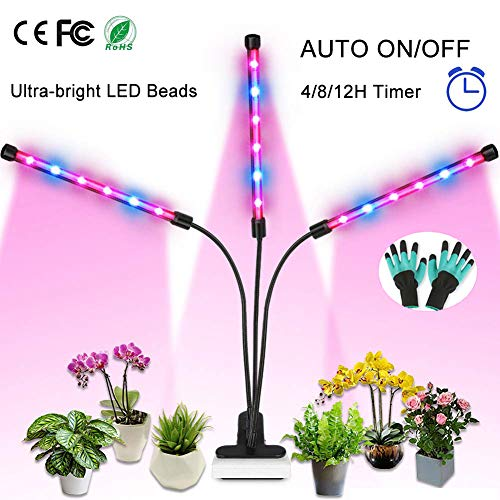 Grow Light, 36W Full Spectrum LED Grow Lamp for Indoor Plants with Auto ON/Off Timer, 4/8/12 Hours Timing 8 Dimmable Plant Lights for House Garden Hydroponics Succulents Herbs Growing (Triple Heads) (Best Grow Lights For Orchids)