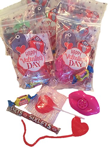Valentines Day Party Supplies - Goody Treat Bags Pre Filled with Lip Whistles, Suckers, Gum, Candy, and Sticky Hearts. Perfect for Classroom Valentine Parties. 10 Assembled Gift Bags -