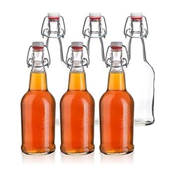 California Basics casa cerveza 16 oz de cristal botellas con tapas para cerveza, Kombucha, transparente, reutilizable (Set de 6 - 12): Amazon.es: Hogar