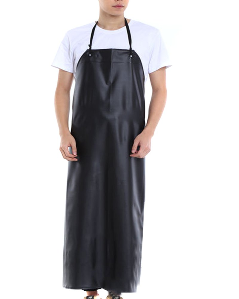 BESTCYC Men's Black Heavy Duty Waterproof Stain Resistant PVC Extra Long Apron for Kitchen Dishwashing Lab Butcher Fishing