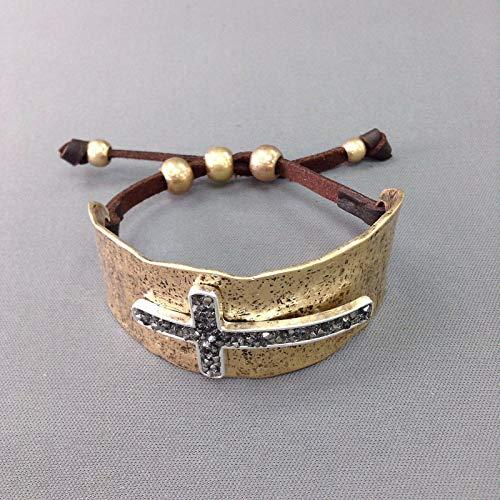 Silver Antique Gold Hematite Rhinestone Cross Design Adjustable Bangle Bracelet - Rhinestone Cross Hematite