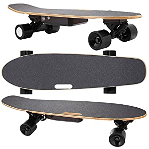 Vansop Electric Longboard Max Range 10 Miles,Top Speed 20 MPH, Maple Remote Control Skateboard (28in, Maple GTS)