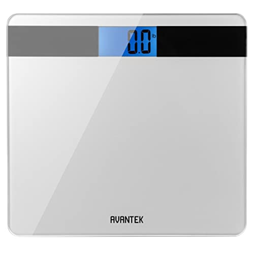AVANTEK Precision Digital Bathroom Scale with Step-On Technology & Large Easy-to-Read Backlit LCD Precision 0.1kg/0.2lb, CE, ROHS Certificated and Lifetime Warranty