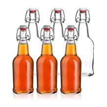 California Home Goods Grolsch Beer Bottles with EZ Caps, Resealable & Reusable, 473mL, Set of 12, Clear