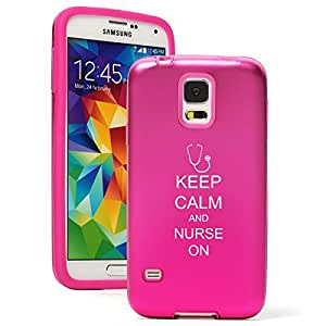 Samsung Galaxy S5 Aluminum Silicone Dual Layer Hard Case Cover Keep Calm and Nurse On (Hot Pink)