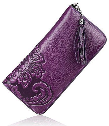 PIJUSHI Wristlet Wallet For Women Leather Floral Wallet Card Holder Purse (91854 Violet)