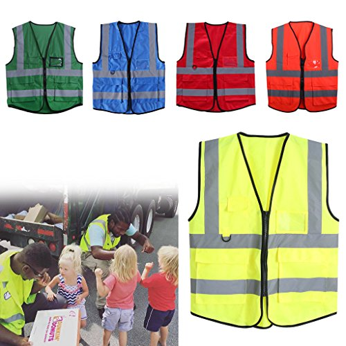 - Hacloser High Visibility Safety Vest Reflective Strips Zipper Front Jacket Security Waistcoat with 5 Pockets Multicolor for Cycling Motorcycle Running (Fluorescent Green)
