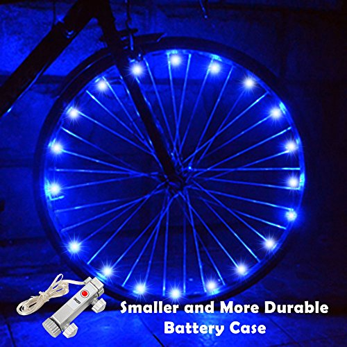 LED Bike Wheel Lights, Waterproof Bicycle Lights with Smaller Battery Case and BATTERY INCLUDED Super Cool Birthday Gifts for Kids and Adults [1 Pack for 1 Tire]