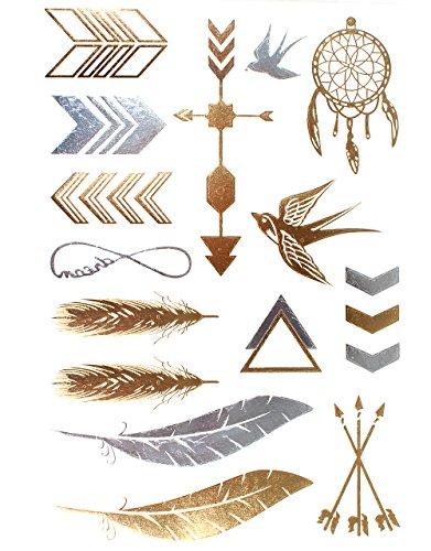 KLIMBIM Bling your Body mit Flash Metallic Tattoos Gold Schmuck Tattoo für Körper Finger Arme viele Designs (No.16)