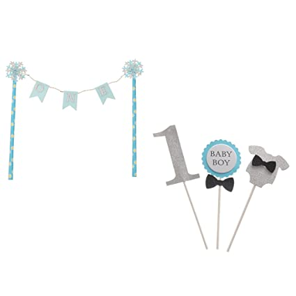 Dovewill 4 Set Cute Blue ONE Cake Topper Banner Baby Boy 1st Birthday Party Decoration