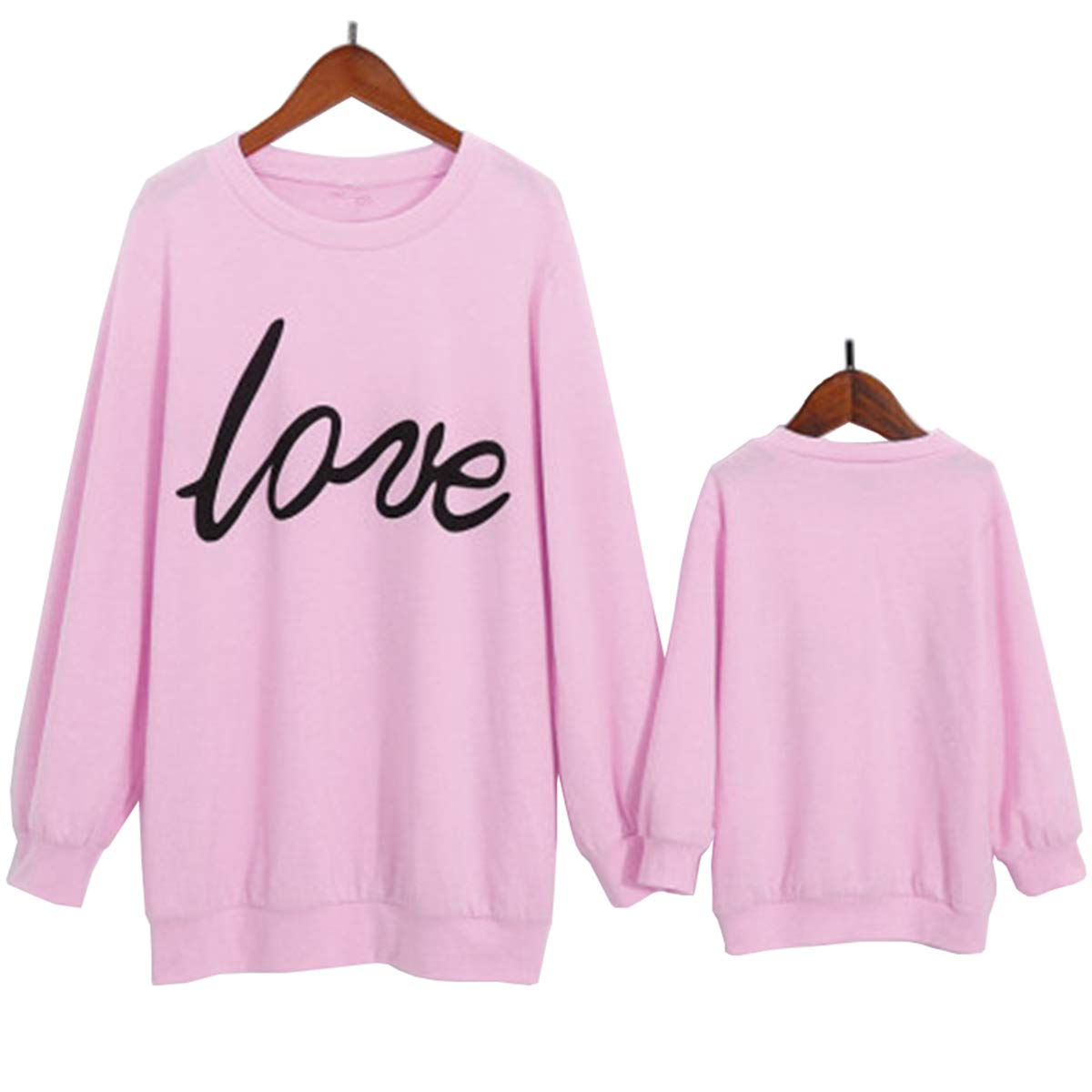 Mommy/&Me Love Printed Hoodie Casual Sweatshirt Pullover Family Matching Tops Outfits
