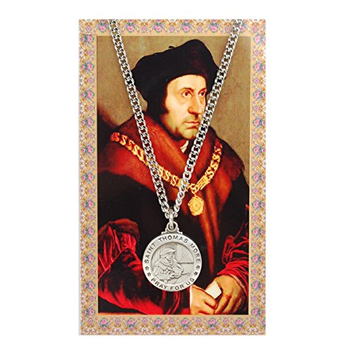 Round St. Thomas More Medal with Prayer Card