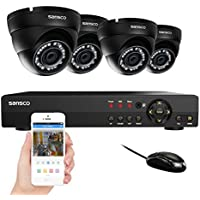 SANSCO Home Security Camera System with 1080N 8-Channel DVR and 4 Dome Cameras (All HD 720p 1MP) Smart Surveillance Cameras Kit