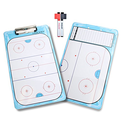 (GoSports Hockey Dry Erase Coaches Board with 2 Dry Erase Pens)