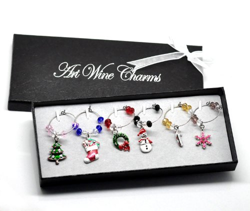 PEPPERLONELY Brand Christmas Mixed Wine Glass Dangle Charms in Gift ()