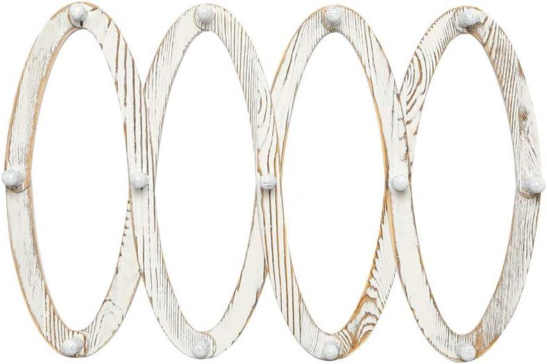 Tazas OROPY Perchero de Madera Extensible para Montar en la Pared con 13 Clavijas para Colgar Sombreros Llaves Blanco r/ústico Bolsos