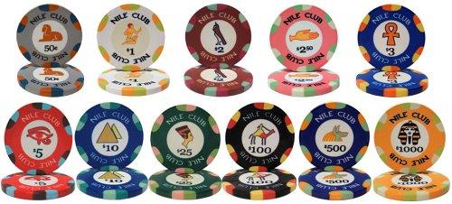 - Nile Club Ceramic 10gm Poker Chip Sample Set - 12 New Chips