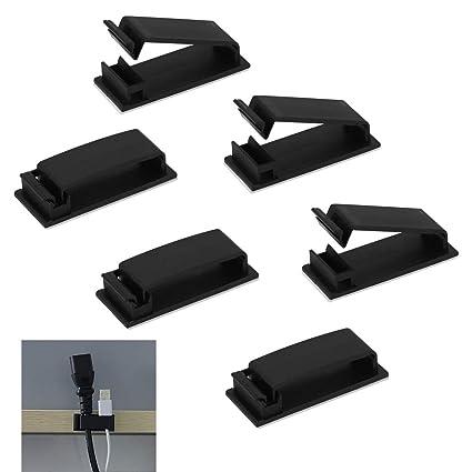 HTINAC 50 pcs Clips de Cable Ajustable, Abrazaderas Adhesivas Fuerte 32 x 6.6MM Clips