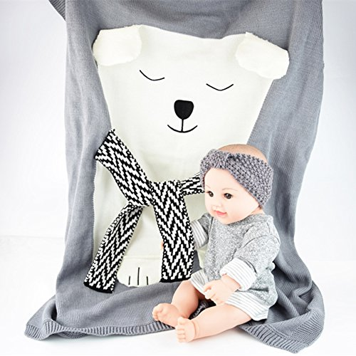 SUNBABY Polar Bear Children Knitted Blanket, Newborn Infant Swaddle Sleeping Blankets Sofa Beach Mat Photography Props (Polar Bear Blanket)