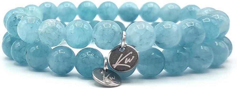 bijoux pour espoir amiti/é KARDINAL WEIST aigue marine bracelet chance chakra pierre naturelle semi-pr/écieuse perles