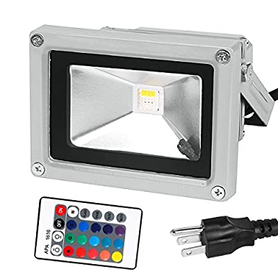 Netboat Remote Control Waterproof 10W RGBW LED Flood Light Color Changing Landscape Light,RGB and Daylight White,US 3-Plug for Garden,Yard, Party,Spot,Hotel