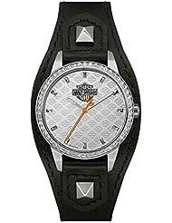 Harley-Davidson Womens Crystal Embellish Shaped Cuff Watch, Black/Silver 76L183