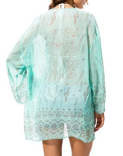 CHERRY CAT Women's Sexy See-Through Chiffon Beachwear Cover-ups Kimono Cardigan ( Aquamrine)