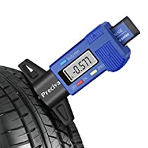 Tire Depth Gauge, Preciva Digital Tire Depth Measurements LCD Display Tyre Tread Depth Gauge Caliper (Blue)