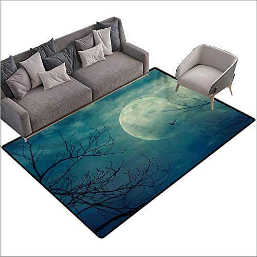 Door Rug for Internal Anti-Slip Rug Horror House Halloween with Full Moon in Sky and Dead Tree Branches Evil Haunted Forest Print Durable W67 xL102 Blue
