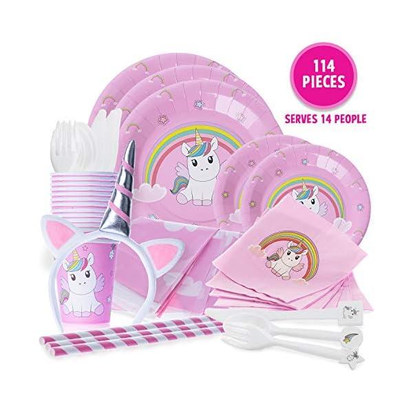 Unicorn Party Supplies - Juego de 114 piezas de manteles desechables, platos de papel para cena y postre, vasos, juegos de cultería, pajitas, servilletas y diadema de unicornio para 14 personas