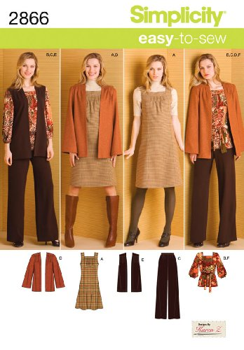 Simplicity Karen Z Easy-to-Sew Pattern 2866 Misses Pants, Jumper or Top, Jacket or Vest, Belt Sizes 10-12-14-16-18 by Simplicity Creative Group, Inc