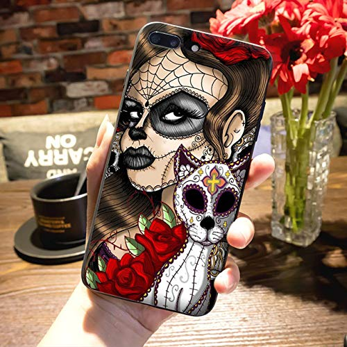 Witch iPhone 6 Case Witches Themed 6S Cover Halloween Black White Red Magic Cat Skeleton Nightmare Scary Death Mask, TPU