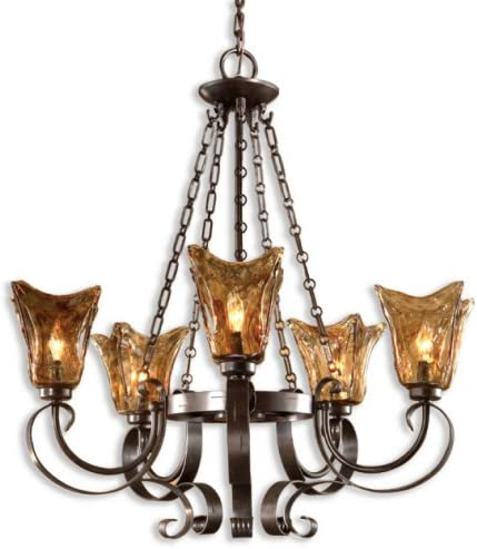 Uttermost Bronze 21007 Vetraio 5-Light Chandelier, Oil Rubbed Finish