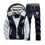 TOP Fighting Men's Activewear Fleece Tracksuits 2 Pieces Jacket & Pants Full Zip Jogging Sweatsuit Sportswear (Dark Blue/XX-Small)
